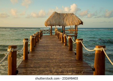 Isolated pier on a beautiful beach in Mexico
