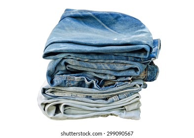 Isolated Pile of Old Indigo Jeans Denim on White Background Texture With Clipping Path Selection