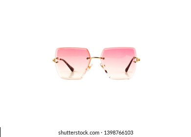 Isolated Pink Gradient Flat Top Trapezoidal Rimless Sunglasses with Thin Frame, Front View