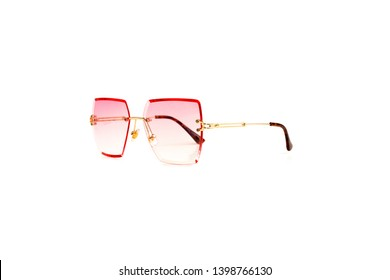 Isolated Pink Gradient Flat Top Trapezoidal Rimless Sunglasses with Thin Frame, Side View