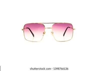 Isolated Pink Gradient Flat Top Trapezoidal Aviator Sunglasses with Thin Frame, Front View