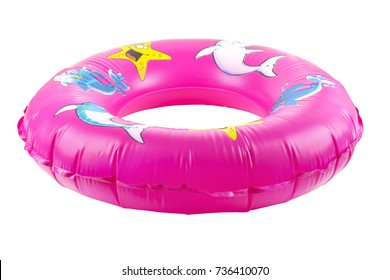 isolated pink inflatable round on white background