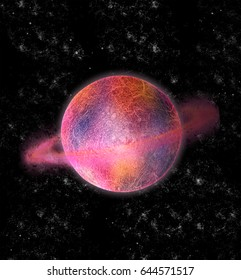 Isolated pink and orange Saturn 3D Illustration