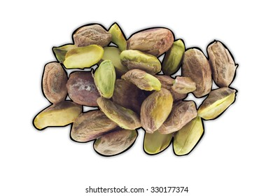 isolated pistachio nuts natural snack healthy food with black border on white background