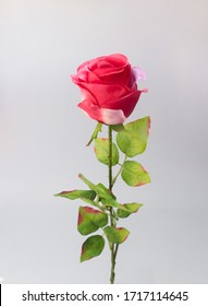 a isolated plastic rose in a white background