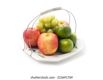 Isolated platter of assorted fruit