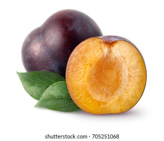 Isolated plums. One and a half of blue plum fruit with leaves isolated on white background, with clipping path