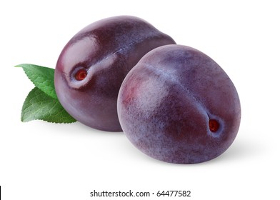 Isolated plums. Two blue plums with leaf isolated on white background