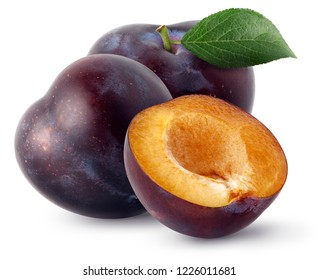 Isolated plums. Two whole and a half of blue plum fruit isolated on white background, with clipping path