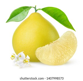 Isolated pomelo citrus fruit. One whole pomelo and a peeled segment with leaves and flowers isolated on white background with clipping path