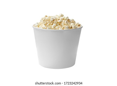 isolated pop corn in white bowl