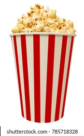 Isolated popcorn in striped bucket on white background
