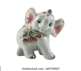 Isolated Porcelain Elephant Statuette Photo.