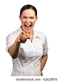 An isolated portrait of an angry business woman or boss screaming and pointing her finger