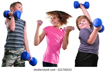 Isolated portrait of children exercising with dumbbells. Childhood, sports, strength active lifestyle concept