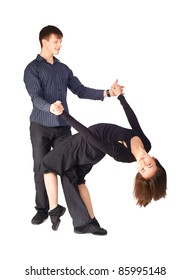 isolated portrait of couple dancing hustle