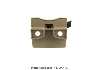 isolated portrait of a old stereoscopic viewer / vintage stereoscopic viewer