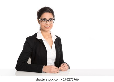 Isolated portrait of sitting secretary with spectacles on white background.