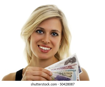 Isolated portrait of a Swedish girl holding Swedish bills.