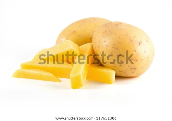 Isolated potatoes with french fries on white background