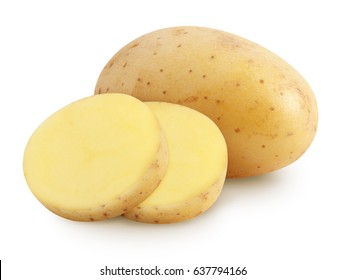 Isolated potatoes. Whole potatoe and cut isolated on white background with clipping path