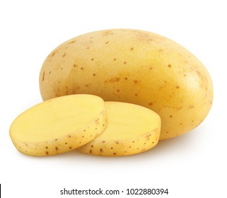 Isolated potatoes. Whole potatoe and slices isolated on white background with clipping path