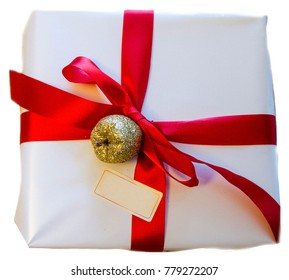 Isolated present in the white package with red band