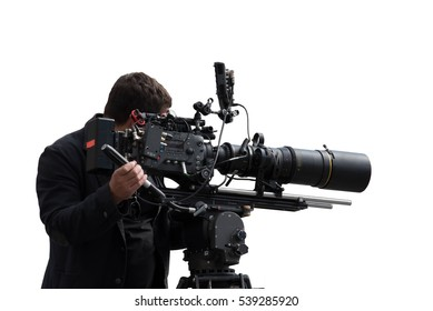 Isolated professional camera man filming a footage with an advanced equipment set on white background