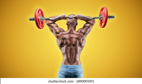Isolated professional sportsman on a yellow background. Bodybuilding concept. Panorama. Advertising of a gym and sports nutrition. Mixed media