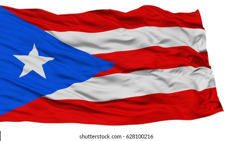 Isolated Puerto Rico Flag, USA state, Waving on White Background, High Resolution