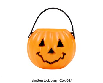 Isolated Pumpkin Basket / Candy Bucket - Halloween Related Object