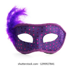 Isolated Purple Carnival Mardi Gras Feather Mask