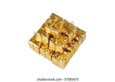 Isolated pyramid of small yellow gifts on white
