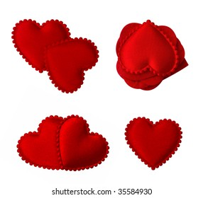 isolated quilted fabric love hearts