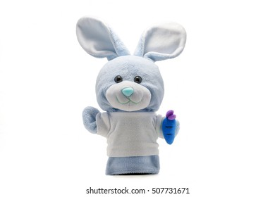 Isolated rabbit sock puppet on white background