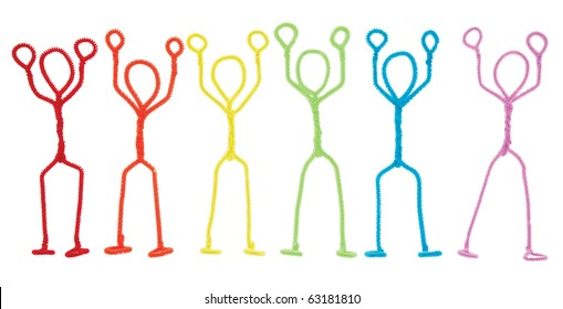 Isolated rainbow colored pipe cleaner stick figures with arms raised overhead as if being held up at gunpoint.