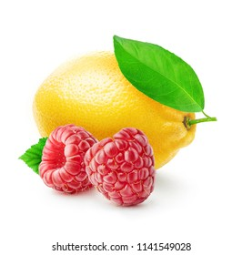 isolated raspberries and lemon. Two fresh fruits raspberries and lemon with leaves isolated on white background