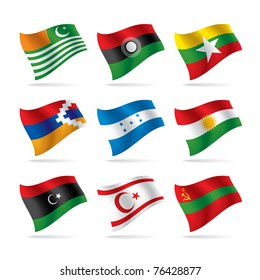 Isolated raster version of vector world flags set (contain the Clipping Path of all objects)