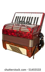 isolated red accordion with clipping path