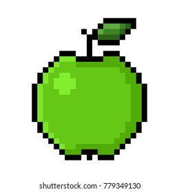 Isolated red apple pixel art; Apple in Big Pixels