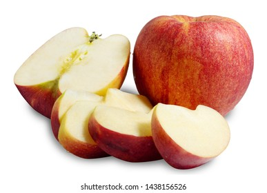 Isolated red apples. Whole red apple fruit with slice apples on white with clipping path.