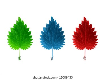 isolated red blue & green leaves