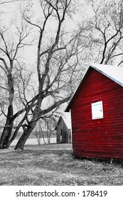 Isolated Red Building in Spot Color