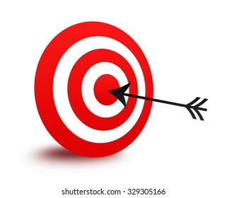 Isolated red bull's eye target and arrow illustration / clip art isolated on white background