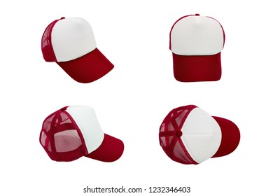 isolated red cap with blank space for logo mock up