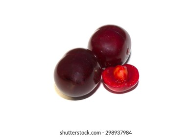 isolated red cherry fruit food ripe berry white drink