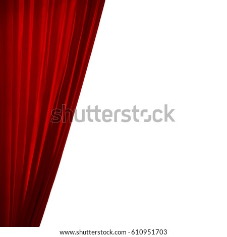 Isolated red curtain on white background.