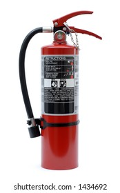 Isolated Red Fire Extinguisher with Label