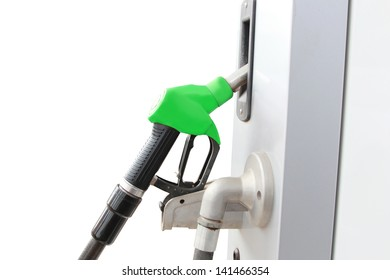isolated red fuel dispenser at the gas station
