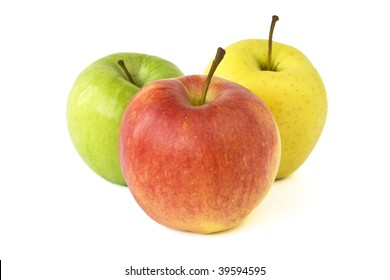 Isolated red, green and yellow apples on a white background.